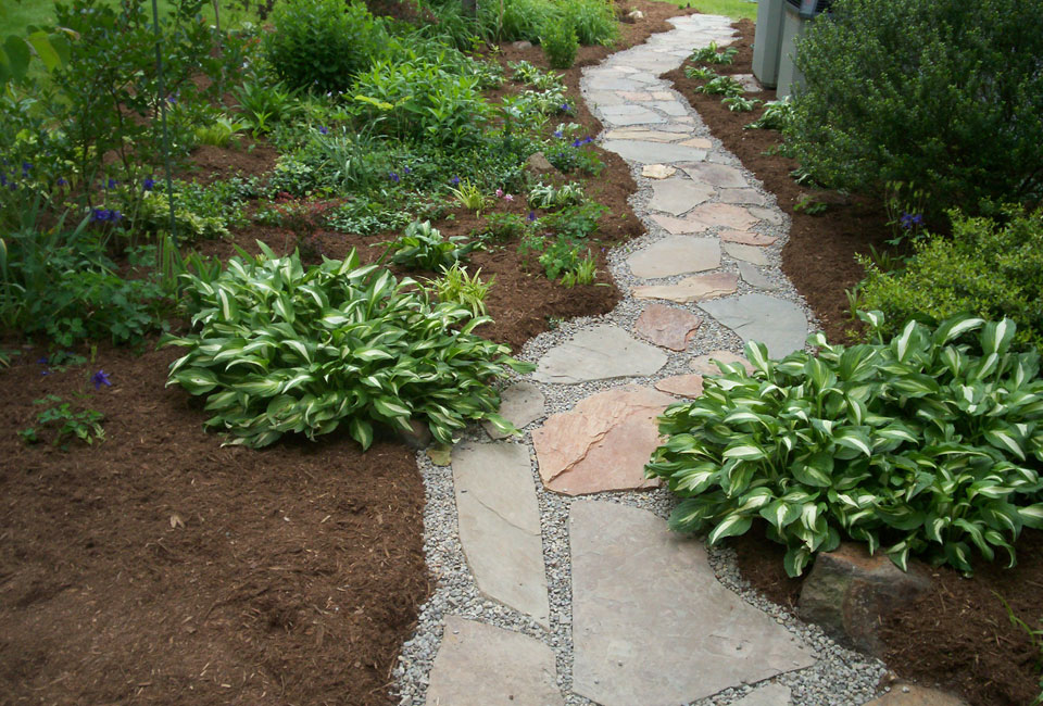 Multicolored slate flagstone walkway through mulched garden bed with Hostas