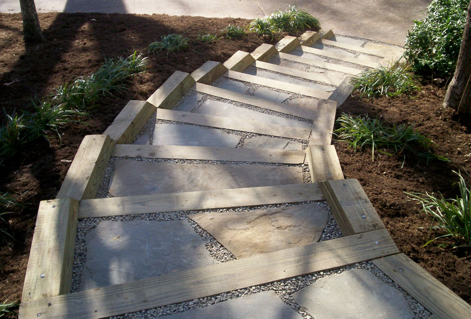 Pressure Treated Landscape Timbers used as Borders & Platforms for Curving Stairway w/ PA Bluestone Flooring & Delaware Valley River Rock Pebbles
