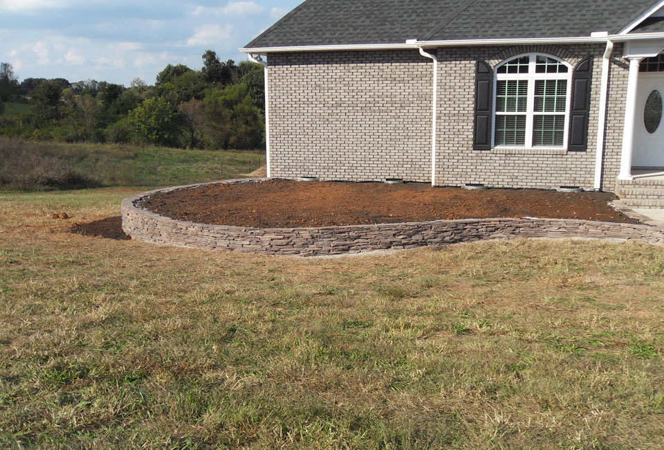 'Colonial Lilac' PA Fieldstone Mortared Retaining Wall / Foundation Bed w/ Topsoil, tilled & ready for Planting