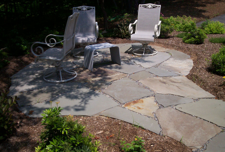 PA Bluestone Slab Flagstone Irregular Cut ~ Thick Patio / Sitting Area w/ Patio Furniture surrounded by Shrubbery Bed