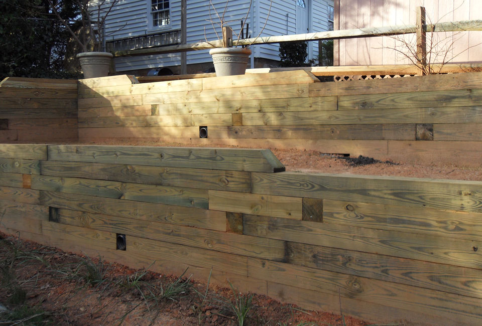 Multi Tiered Backyard : MultiLevel Timber Tiered Retaining Walls for Terracing & Enclosing