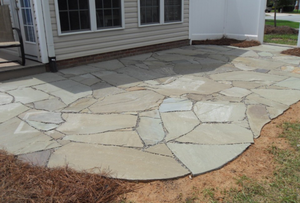 PA Bluestone Flagstone Irregular Cut ~ Thick Patio Dry Laid in Stone Fines Upon Gravel Base Over Professional Grade Landscape Fabric