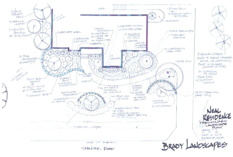 Preliminary Landscape Design Plan to scale featuring Stone Retaining Walls, Tree & Shrubbery Installation, Groundcover & River Rock Beds w/ both Perennial & Annual Seasonal Color
