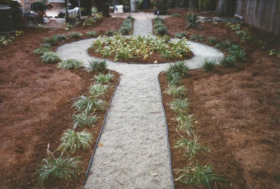 Traditional English Garden Design featuring simply Hosta & Liriope Groundcover w/ Gray Pea Gravel Pathway Bordered w/ Aged Hardwood Mulch & Pine Needle