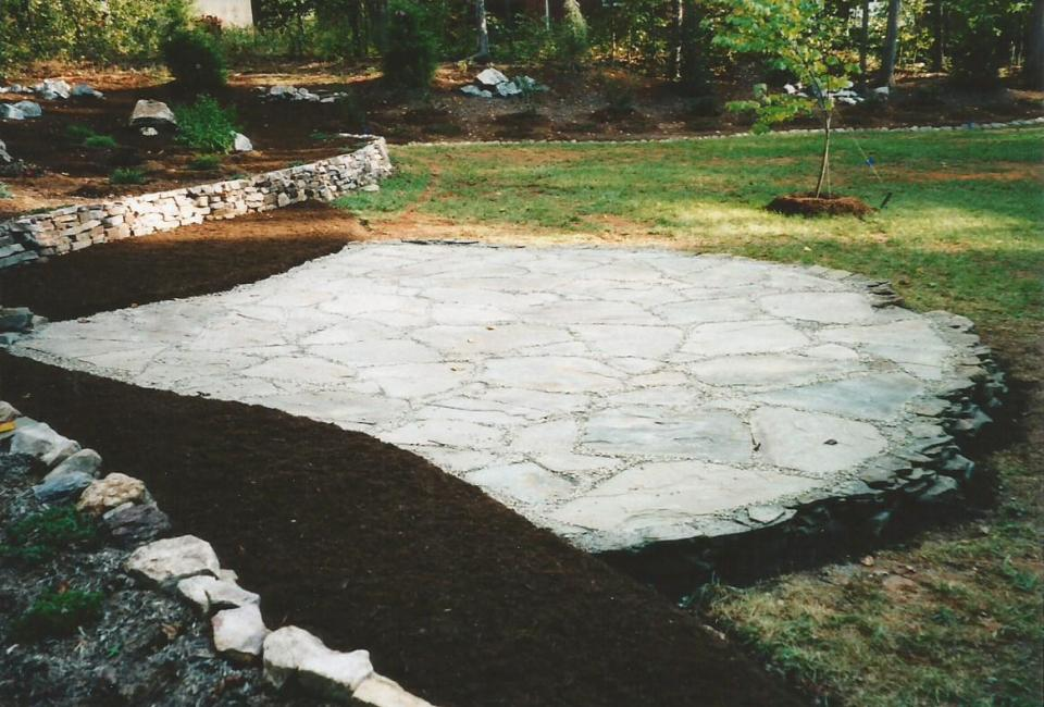 Irregular Cut ~ Thick PA Bluestone Patio w/ PA Stepping Stones & NC Dry Stack Boulders as background wall