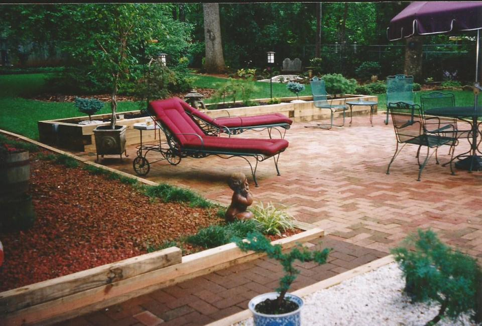 'Herringbone' Paver Brick Patio & Walkway w/ Timber Borders & Free Standing Timber Retainer / Planter in background