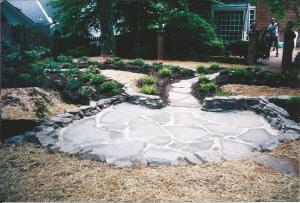 Overview of PA Bluestone Flagstone Patio & Walkway leading back towards Brick Courtyard w/ Columns & Wrought Iron Fencing