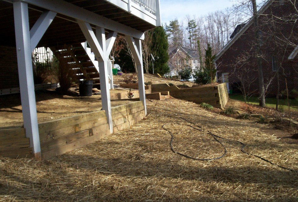 Backyard Extension & Deck Support Retaining Walls w/ Shrubbery Bed Borders